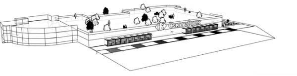 Vue 3D du Carrefour réaménagé