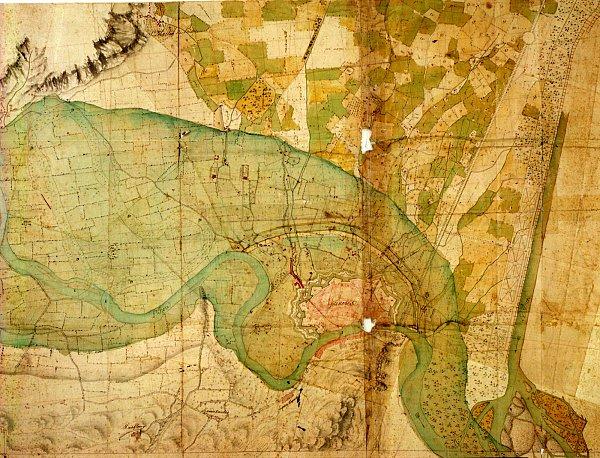 Plan de l'innondation de l'Isère dans la plaine de Grenoble en décembre 1740